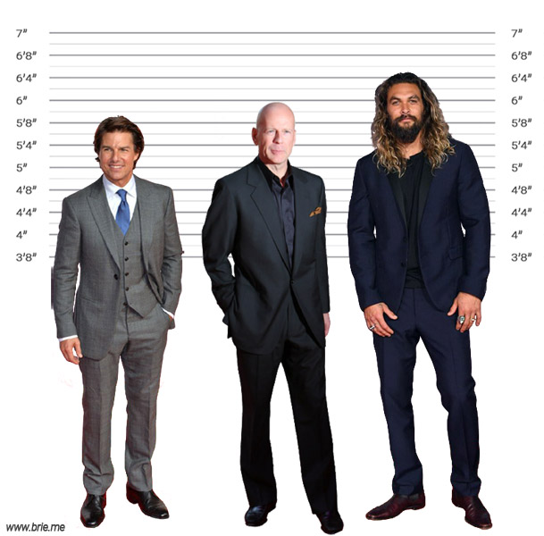 Bruce Willis height comparison with Tom Cruise and Jason Momoa