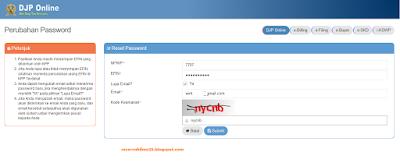 Pengisian Reset Passoword DJP Online