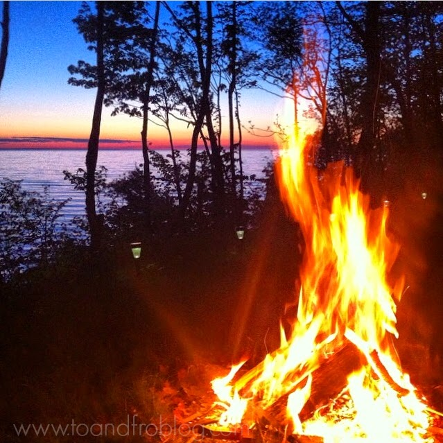 bonfire Lake Huron sunset