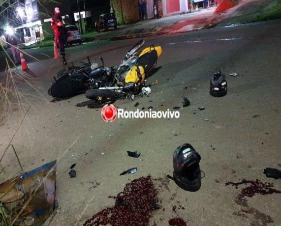 URGENTE: Três pessoas ficam em estado grave após violento acidente entre motos