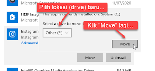 Memindahkan Apps Windows 10