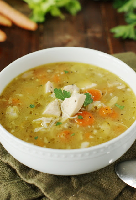 {Leftover} Rotisserie Chicken Soup ~ Turn those rotisserie chicken leftovers into an amazingly flavorful, soul-warming pot of soup.  It's comfort food at it's best!   www.thekitchenismyplayground.com