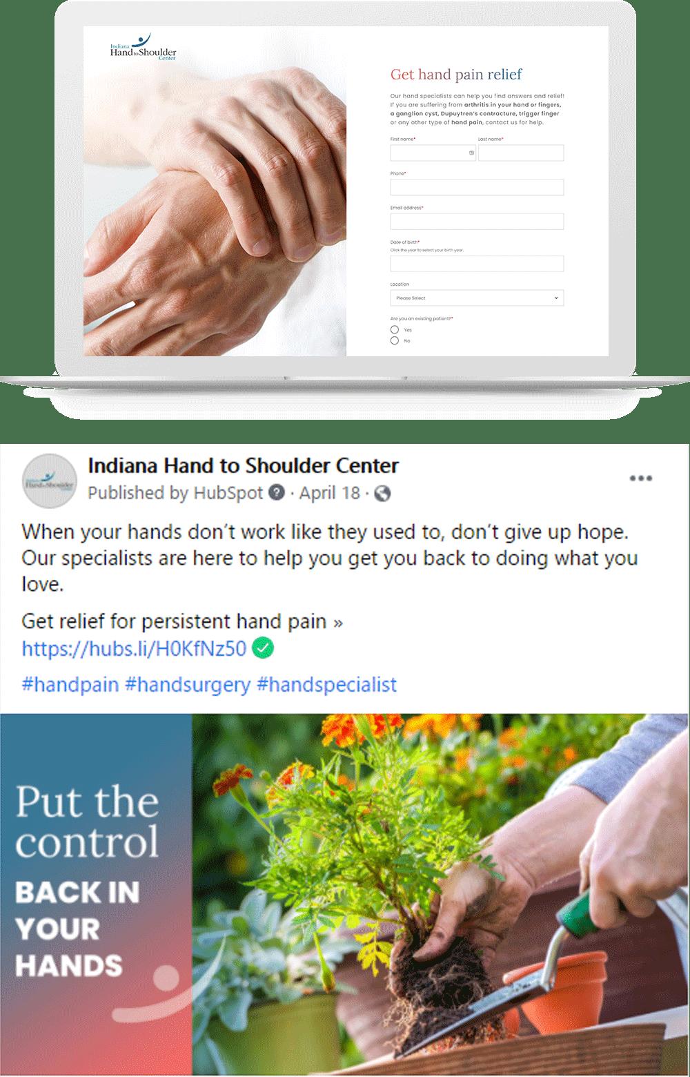 Indiana Hand to Shoulder Center Marketing Service Line Campaign Award Winner