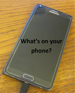 Blank cell phone with question: What's on your cell phone?