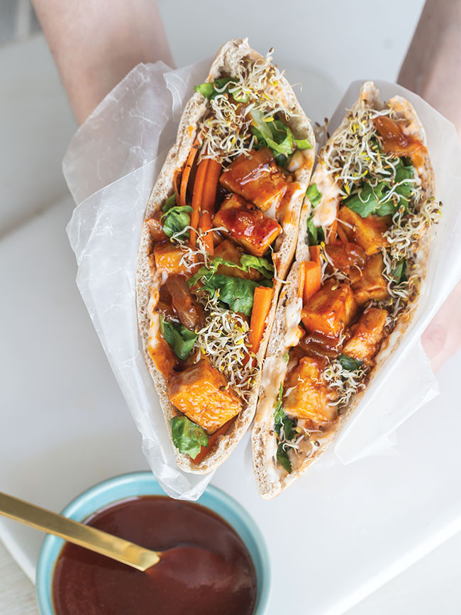 BBQ Tofu-Stuffed Pita Pockets