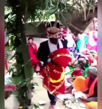 made married with wood doll wearing her sari, ajooba in india, updated news