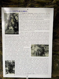 Informational sign in the grotto.