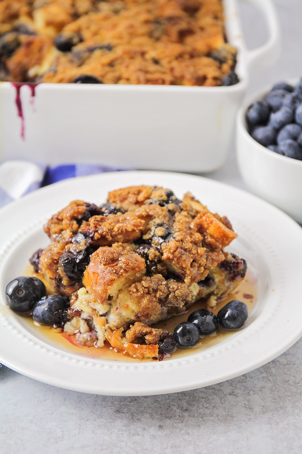 This blueberry streusel baked french toast is easy to make in advance, and totally delicious!