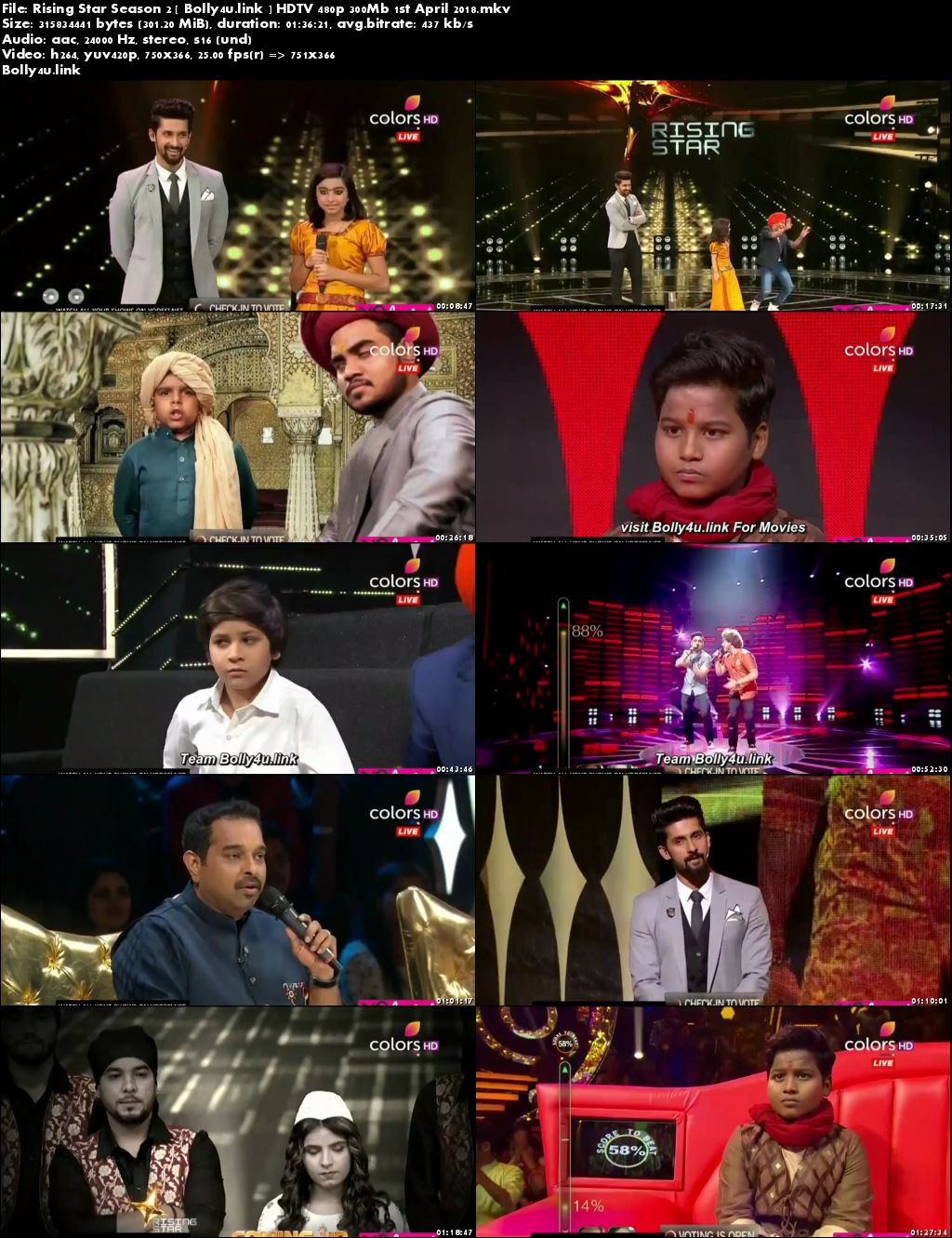 Rising Star Season 2 HDTV 480p 300Mb 01 April 2018 Download