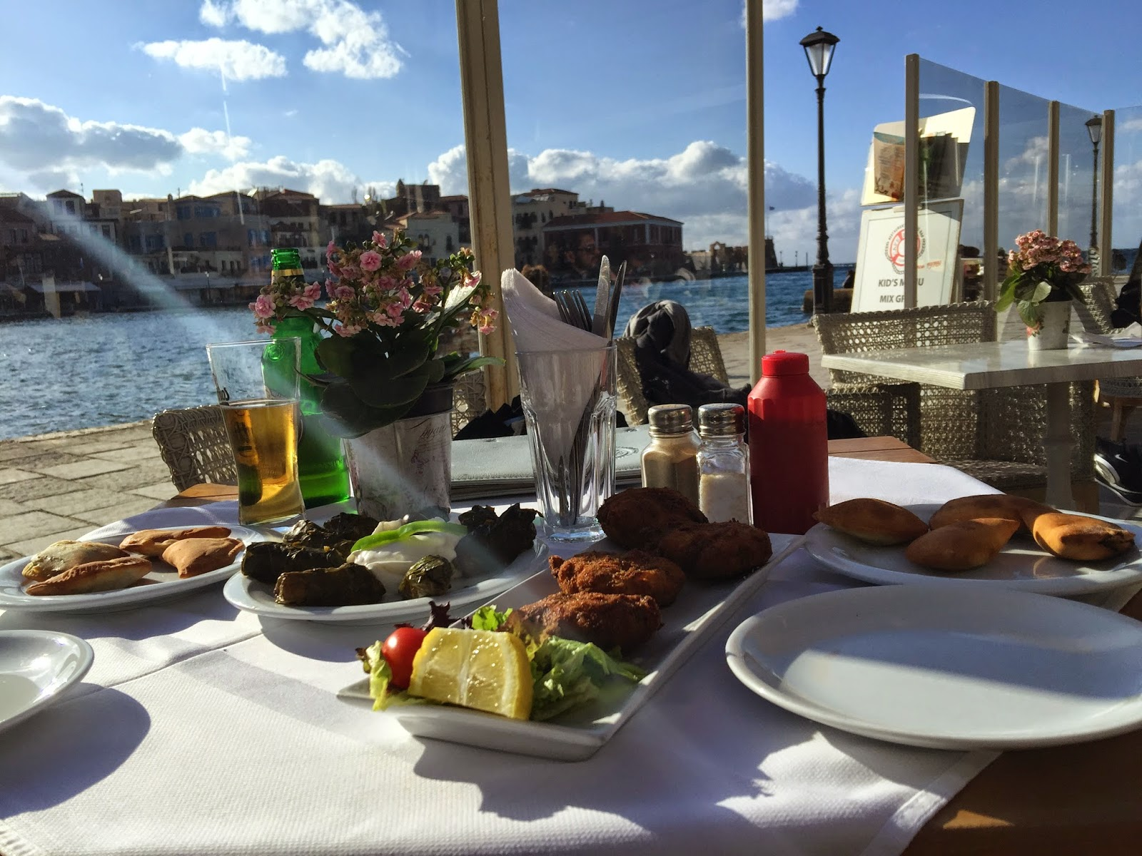 Waterfront dining in Chania on Greek island of Crete