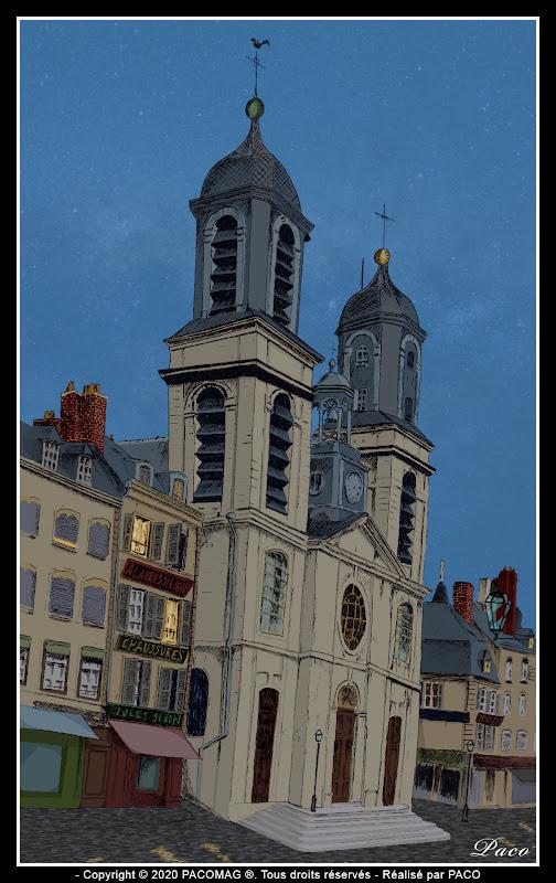 dessin église Saint Charles de Sedan sur la place d'armes au crepuscule