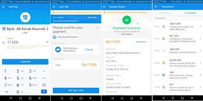 Tampilan pada aplikasi DANA saat membayar dan riwayat transaksi