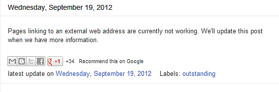 Wednesday, September 19, 2012 Pages linked to an external web address are not currently working. We'll update this post when we have more information.  Google blogspot Pages external link error, javascript error, missing URL