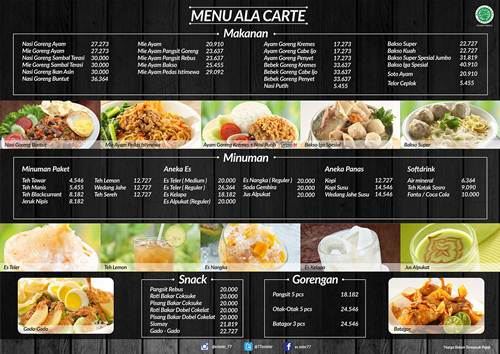 menu ala carte harga top