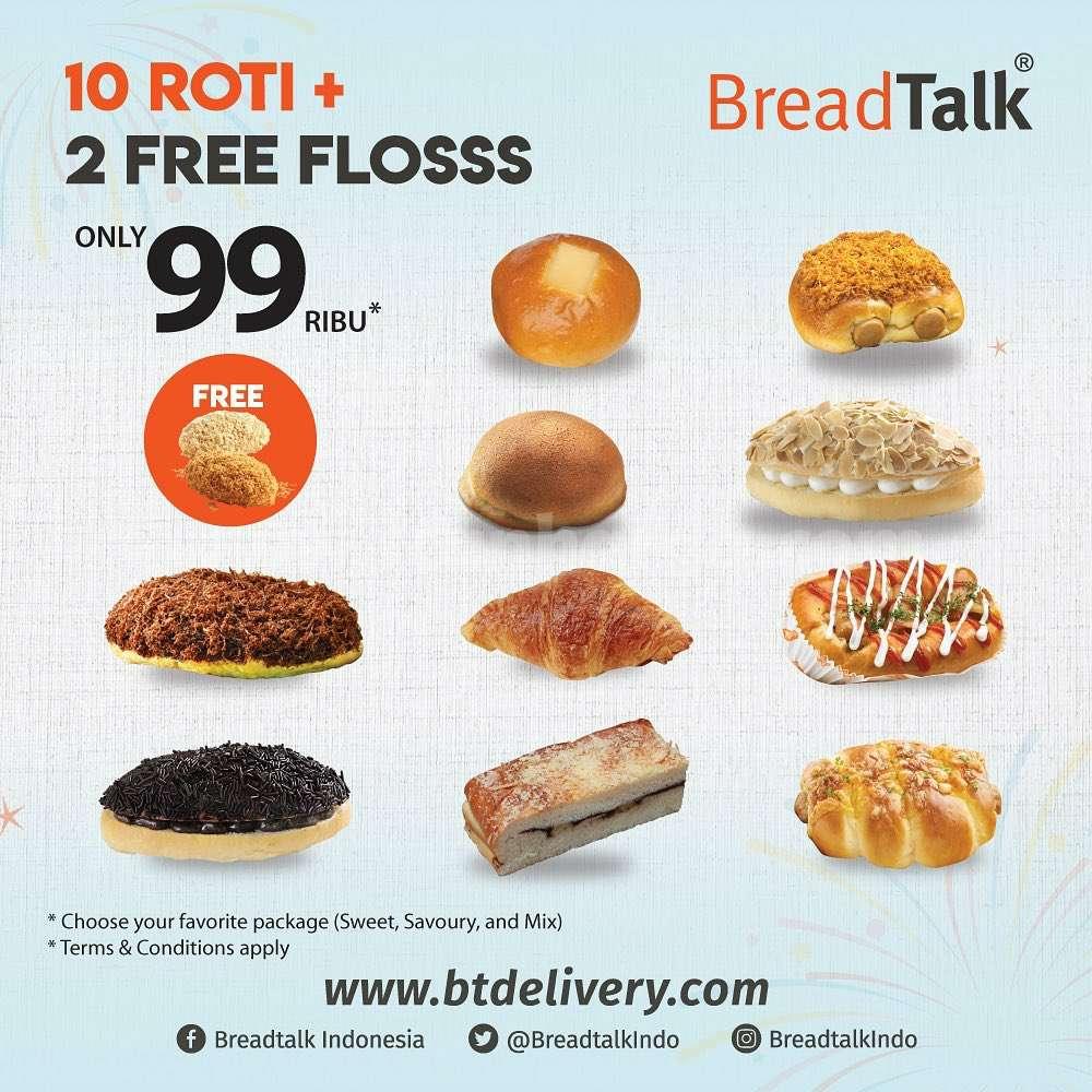 Breadtalk Promo Harga Spesial 10 Roti + 2 Free Flosss hanya Rp. 99.000