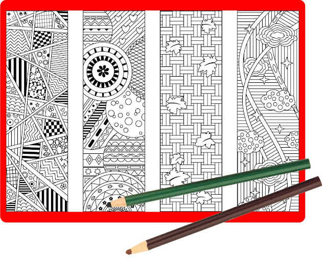 coloring bookmarks with abstract pattern designs