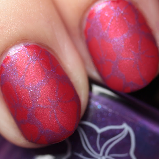 Moonflower Polish Orquideas (Orchids) stamped over Flor de Maga (Maga Flower)