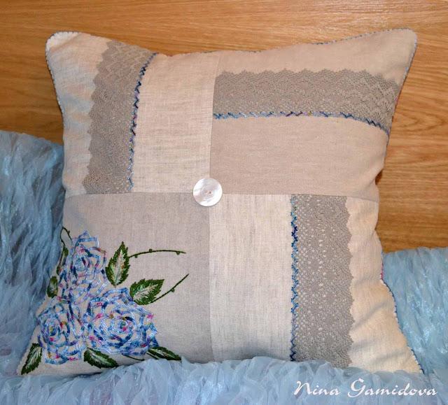Подушка с вышивкой своими руками.