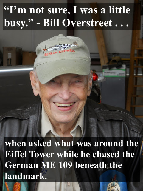 WWII Pilot Bill Overstreet, smiling at a 2012 Greenbrier Air Show, wearing his pilot jacket. Quote about his flight under the Eiffel Tower while chasing a German pilot. Overstreet and Mad Jack and other stories of pilots. marchmatron.com