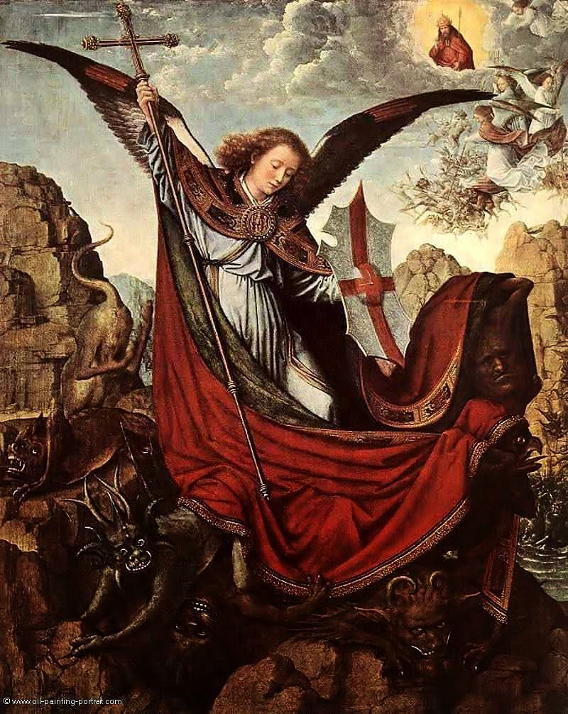 """""""E houve uma grande batalha no céu"""". São Miguel Arcanjo.  Gérard David  (1460 — 1523), Kunsthistorisches Museum, Viena"""