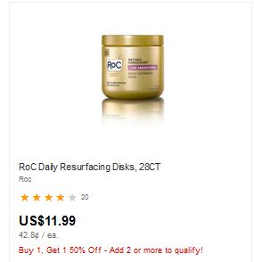 RoC Retinol Correxion ​Line Smoothing Daily Cleansing Pads​, 28CT