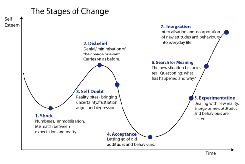 now, although the stages are fairly consistent for each change you may  experience, the speed at which you move through the stages varies from  person to