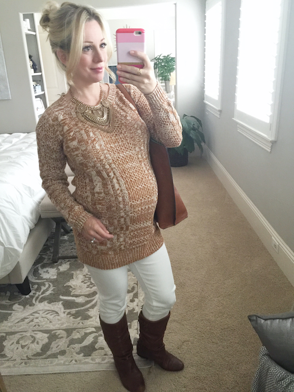 Fall/Winter fashion - white jeans, cable knit sweater, brown boots  #dressingthebump #bumpstyle #maternitystyle
