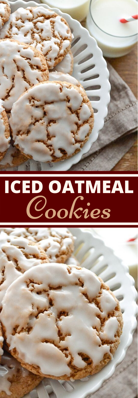 Iced Oatmeal Cookies #cookies #recipes #desserts #christmas #baking