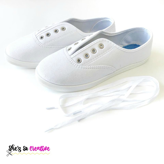 White Canvas Shoes for DIY Yarn Ball Shoe Tutorial