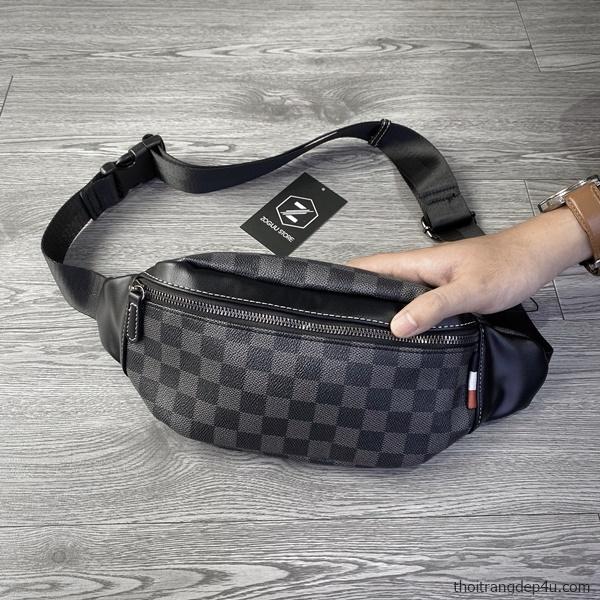 Túi đeo chéo caro thời trang da nam cao cấp BAM062
