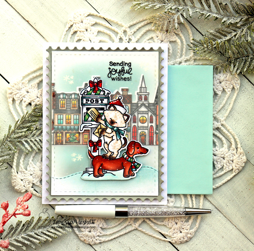 Sending Joyful Wishes Card by Larissa Heskett for Newton's Nook Designs using Holiday Post Stamp, Holiday Post Die Set, Main Street Christmas Stamp Set, Main Street Christmas Die Set, Sea Borders Die Set and Framework Die Set #newtonsnook #newtonsnookdesigns #holidaypost #mainstreetchristmas