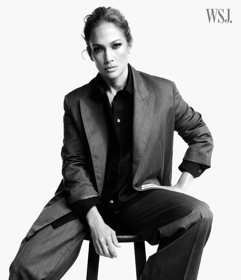 Suiting up, Jennifer Lopez poses for WSJ. Magazine.