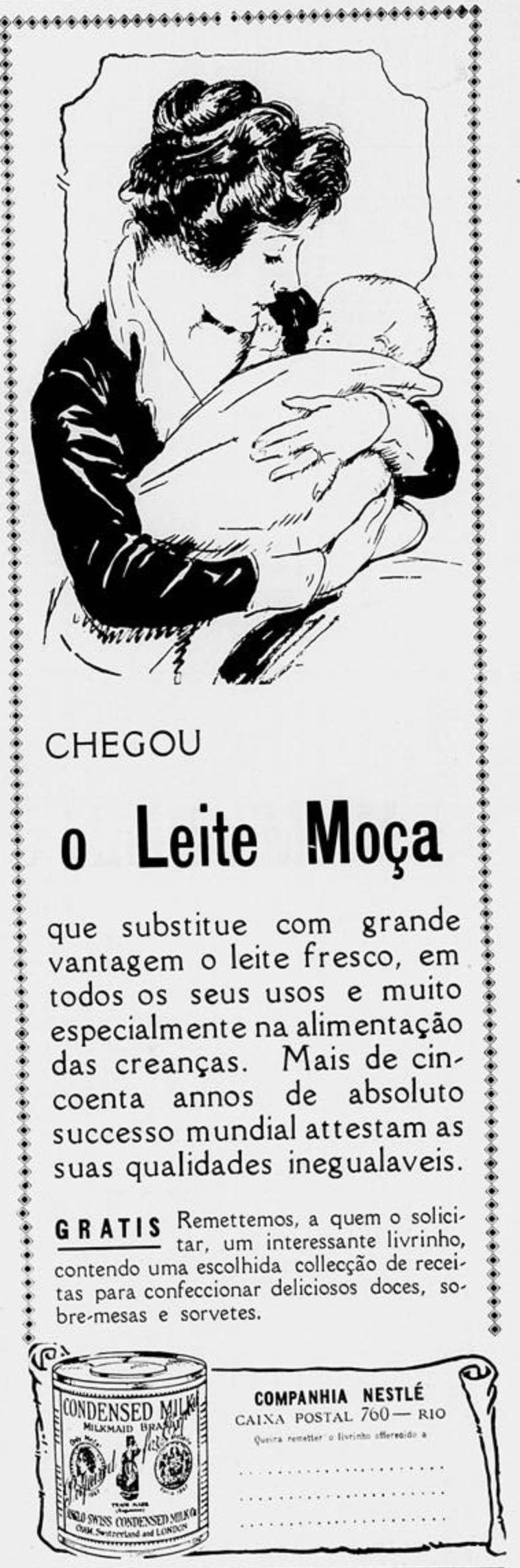 Propaganda de lançamento do Leite Moça no mercado brasileiro em 1921