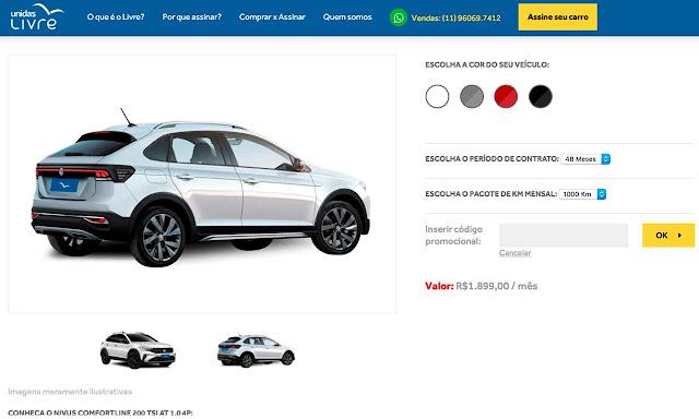 Volkswagen Nivus disponível para aluguel na Unidas