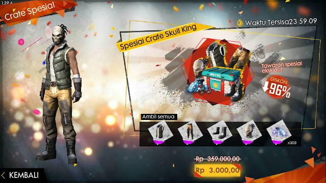 Bundle Crate Skull King Free Fire Spesial Air Drop 3000 Rupiah