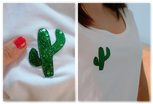 customisation tee-shirt blanc avec cactus à paillettes