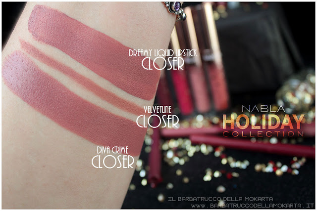 closer comparazioni swatches divecrime  liquid lipstick  velvetline nabla rossetto liquido