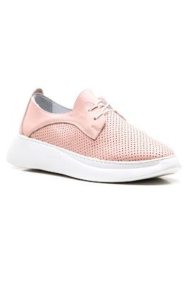 bağcıklı bayan pudra deri sneaker