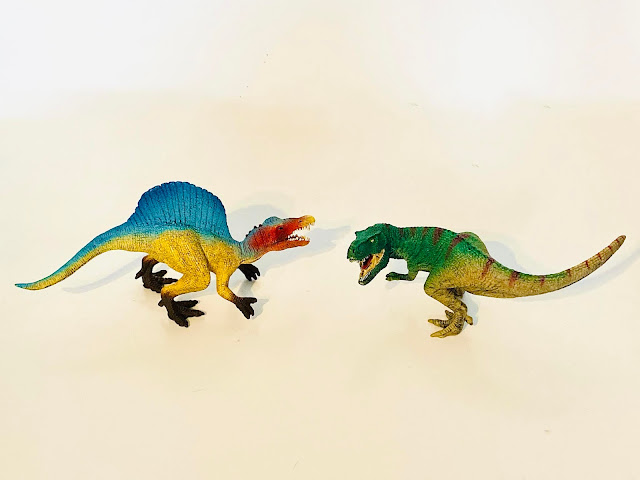 The Schleich Spinosaurus and T-Rex which are being reviewed from the small set