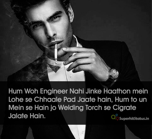 Attitude of Royal Nawabi Boy Hindi Status Faadu Status on Cigarette Image