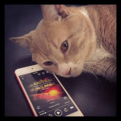 Ollie, a pale ginger cat, flops on a dark grey surface with his face slightly overlapping a white iPod with Diplomatic Immunity's cover on its screen. The cover features three space stations hovering over a red planet.