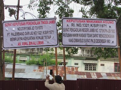 Pengadilan Negeri Jambi Diduga Mengeksekusi Melebihi Objek