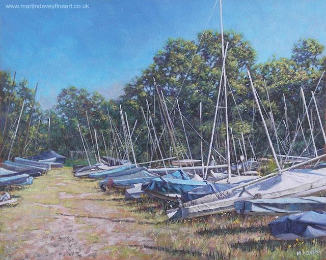 M P Davey netley boats under covers acrylic art landscape
