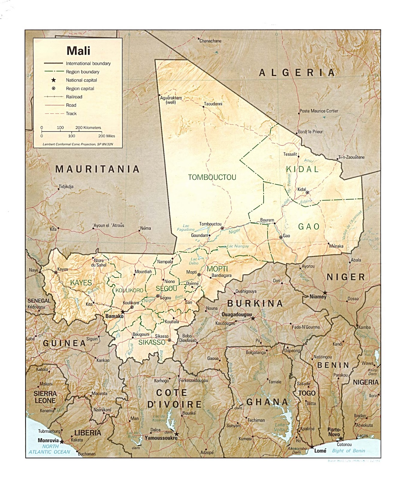Mali Geografiske Kort Over Mali Global Encyclopedia