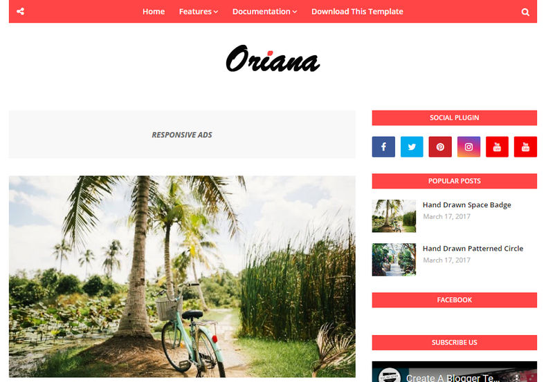 Oriana Blogger Template