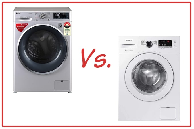 LG FHT1408ZWL (left) and Samsung WW65R20GLSW/TL (right) Washing Machines.