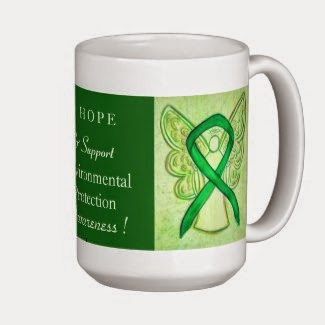 I Hope & Support Environmental Protection Awareness Ribbon Green Angel Art Gift Coffee Mugs
