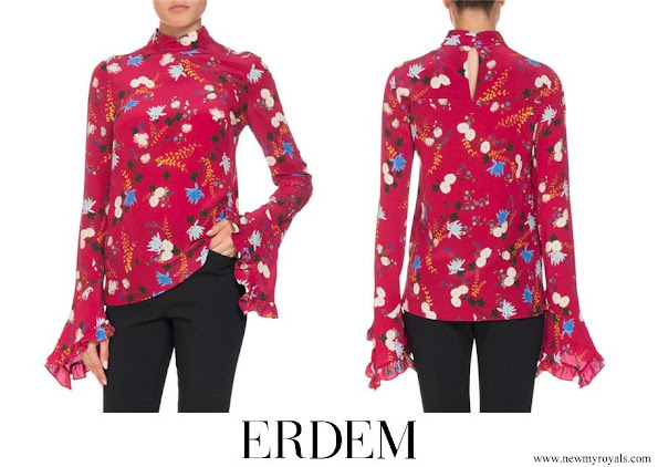 Crown Princess Mary wore ERDEM Lindsey Floral Mock Neck Ruffle Sleeve Top