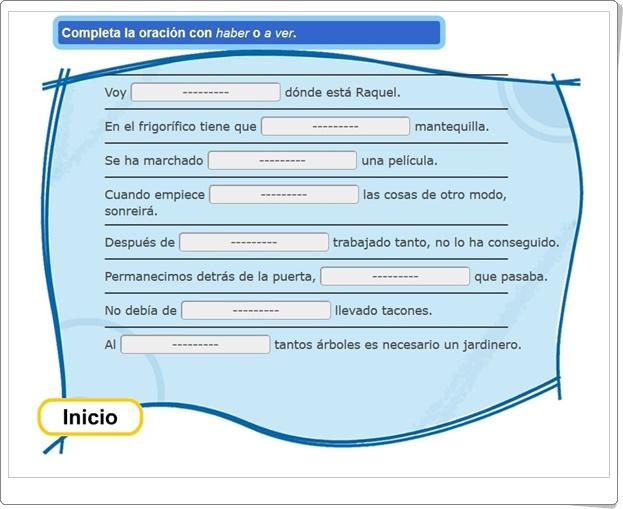 """Completa con """"haber"""" o """"a ver"""" (Actividad interactiva de Lengua Española de Primaria)"""